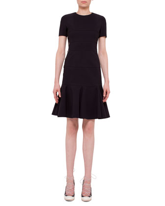 Short-Sleeve Jewel-Neck Flounce Dress, Black