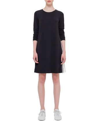 Long-Sleeve Mesh-Inset Dress, Black
