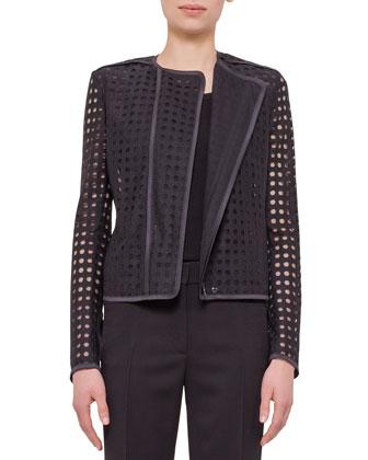 Circle-Embroidered Long-Sleeve Jacket, Black