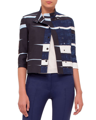 3/4-Sleeve Boxy Jacket, Multi Colors