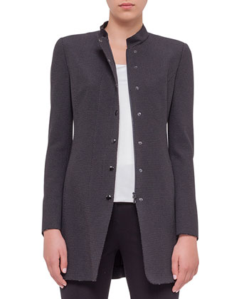 Birdseye-Snap Front Long Jacket, Square-Neck Half-Sleeve Top & Stretch ...