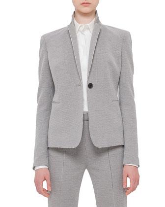One-Button Houndstooth Jacket, Black/Cream