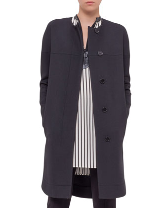 Long-Sleeve Long Coat, Black