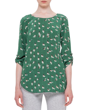 Rolled-Sleeve Round-Neck Printed Blouse, Grass/Cream