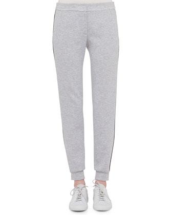 Flo Slim-Leg Pants W/Contrast Stripe, Silver