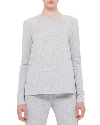 Long-Sleeve Mesh-Inset Sweatshirt, Silver