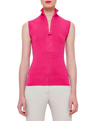 Long-Sleeve Zip-Front Cardigan, Rose