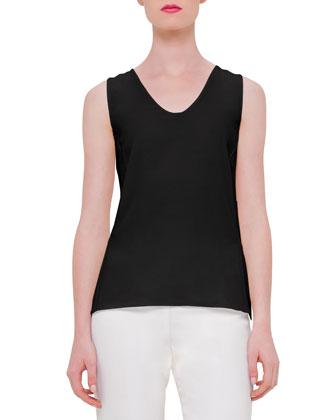 Sleeveless Silk Georgette Shell, Black