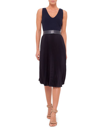 Sleeveless Plisse-Skirt Belted Dress, Navy