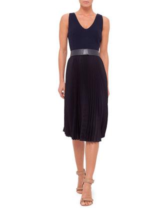 Sleeveless Plisse-Skirt Belted Dress, Navy