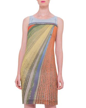 Sleeveless Printed Sheath Dress, Multi Colors