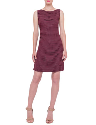 Sleeveless Pleated-Front Sheath Dress, Dahlia