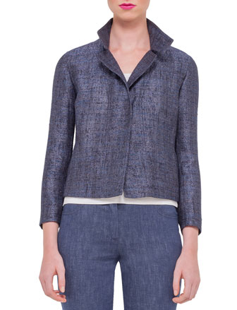 Long-Sleeve Tweed Jacket, Indigo