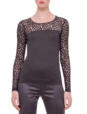 Long-Sleeve Applique Top, Black