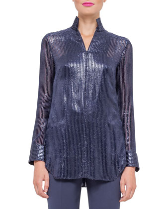 Long-Sleeve Striped Devore Tunic Blouse, Indigo