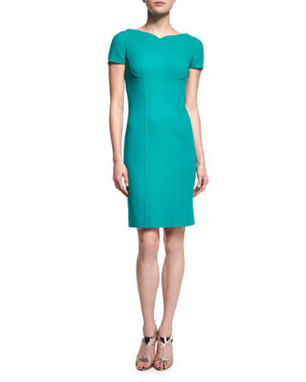 Short-Sleeve Sheath Dress, Turquoise