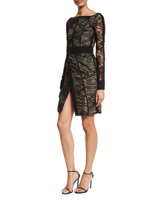 Long-Sleeve Lace Dress W/Piping, Noir