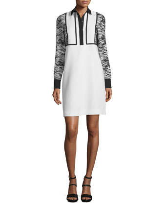 Long-Sleeve Collared Cocktail Dress, Ivory/Black
