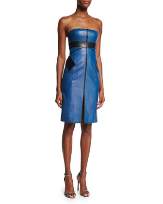 Two-Tone Leather Strapless Cocktail Dress, Blue Steel