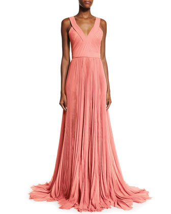 Sleeveless V-Neck Pleated Gown, Coral