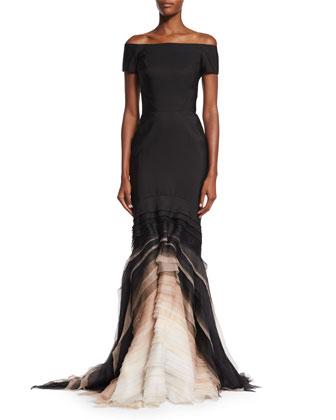 Off-The-Shoulder Ombre-Tulle Gown, Noir