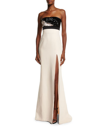 Embellished-Bodice Strapless Gown, Barely Pink/Black