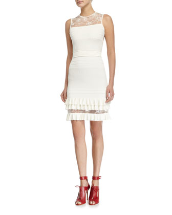 3/4-Sleeve Ruffle-Hem Jacket & Sleeveless Lace-Inset Sheath Dress, Gardenia
