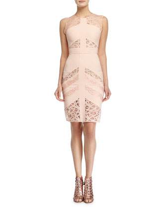 Sleeveless Lace-Inset Sheath Dress, Melrose