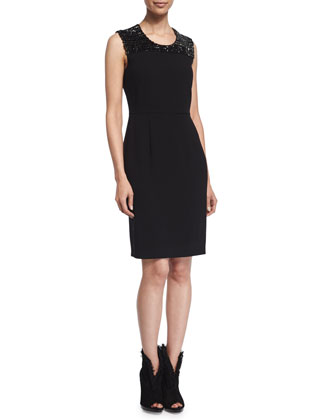 Embellished Cocktail Sheath Dress, Black
