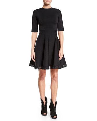 Half-Sleeve Fit-&-Flare Dress W/Fringe, Black
