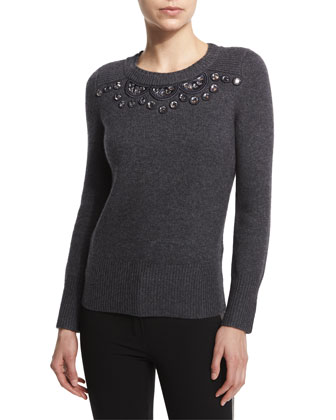 Long-Sleeve Embellished Sweater, Charcoal