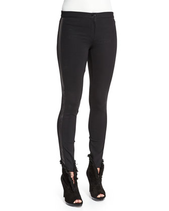 Low-Rise Leggings W/Racing Strip, Black