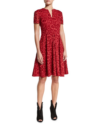 Short-Sleeve Floral-Lace Dress, Parade Red