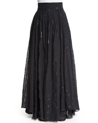 High-Waist Paillette-Stripe Ball Skirt, Volcano
