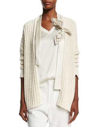 Ribbed Cardigan W/Flower Detail, Butter