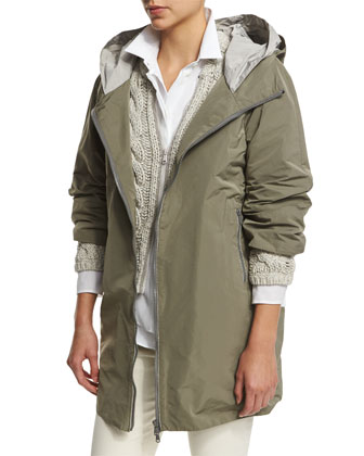 Monili-Trim Hooded Jacket, Green Tea