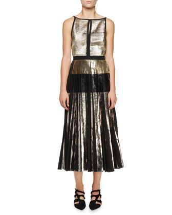Sleeveless Metallic-Cloque Dress, Silver/Black