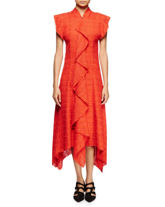 Flutter-Sleeve Asymmetric-Hem Dress, Electric Red