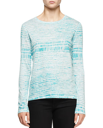 Long-Sleeve Multi-Striped T-Shirt, Light Blue/Turquoise