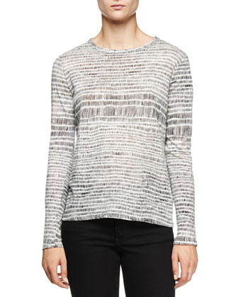 Long-Sleeve Jewel-Neck T-Shirt, White/Black Etch