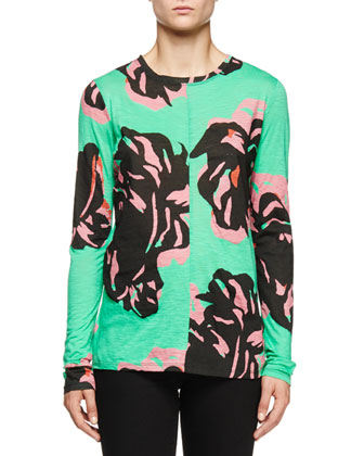Long-Sleeve Abstract-Floral T-Shirt, Mint