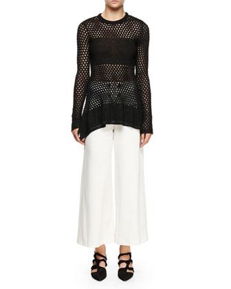 Long-Sleeve Open-Stitch Sweater, Black
