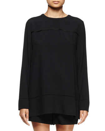 Long-Sleeve Seamed-Tunic Blouse, Black