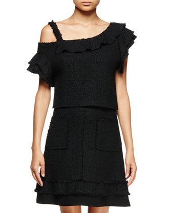 Off-The-Shoulder Ruffle Top, Black