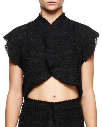 Flutter-Sleeve Cropped Blouse, Black