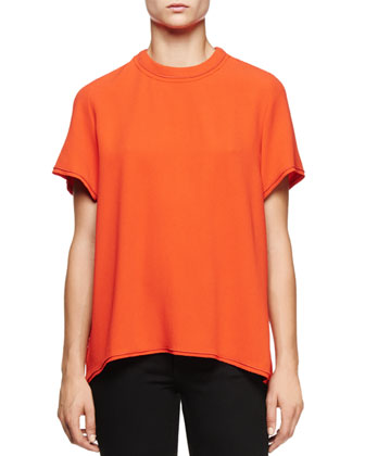 Short-Sleeve Split-Back Blouse, Electric Red