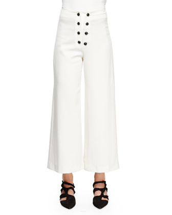 Sailor-Button Wide-Leg Ankle Pants, White