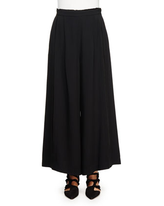 Pleated-Front Wide-Leg Palazzo Pants, Black