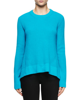 Jewel-Neck Arched-Hem Sweater, Turquoise