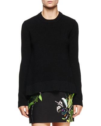 Jewel-Neck Arched-Hem Sweater, Black